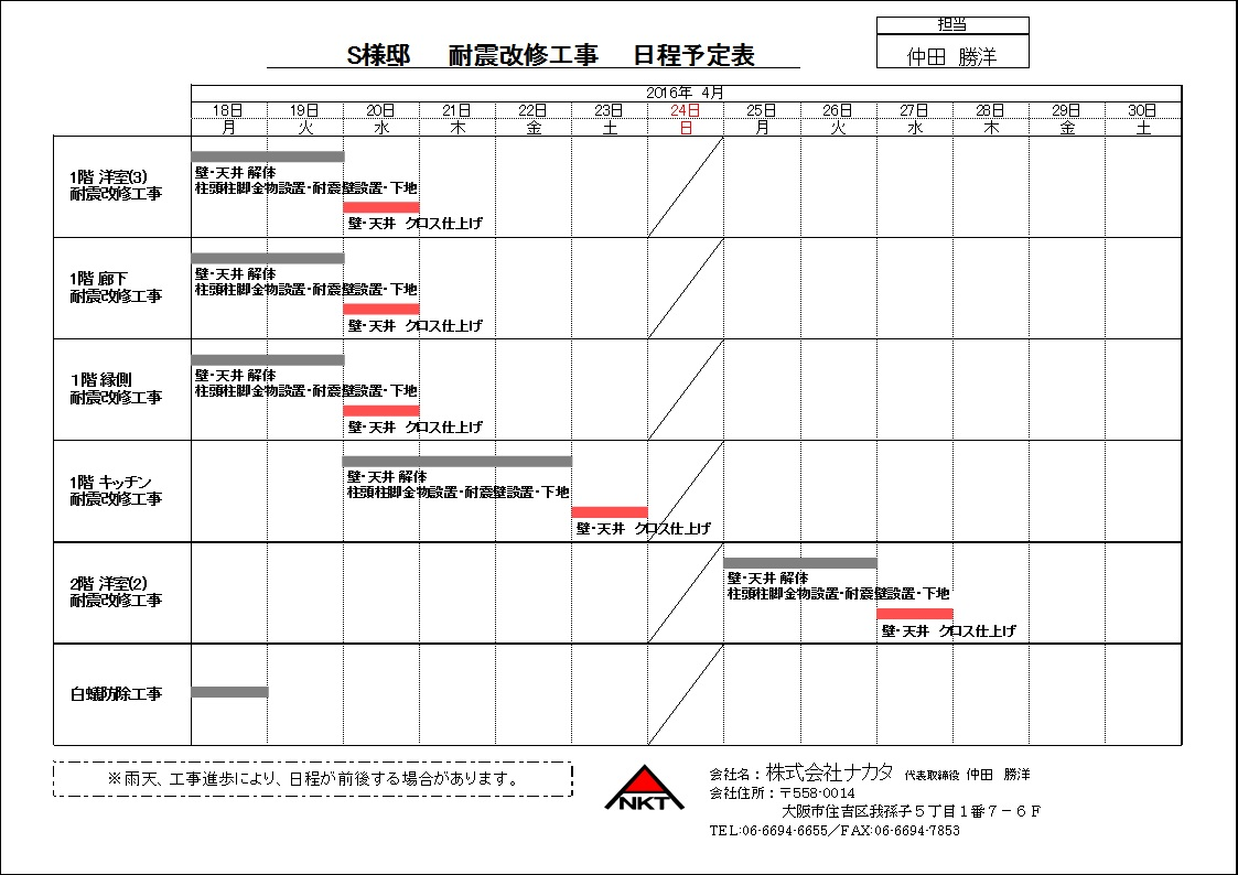 0430S様邸 工程表